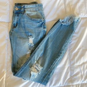 Ripped Fray Hem Jeans